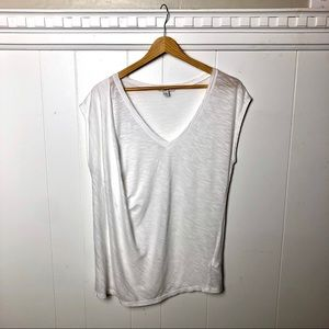 Bar III | Asymmetrical White T-Shirt | Large